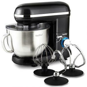VonShef Robot Pâtissier Robot Petrin Cuisine Multifonctions 800W à 1260W – Bol de 3,5 L avec dispositif anti-éclaboussures – Livré avec fouet batteur, fouet ballon et crochet de pétrissage – Noir