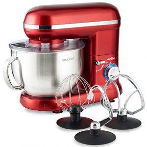 VonShef Robot Pâtissier Robot Petrin Cuisine Multifonctions 800W – Bol de 3,5 L avec dispositif anti-éclaboussures – Livré avec fouet batteur, fouet ballon et crochet de pétrissage – Rouge