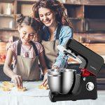 Cookmii 1800W Professionnel Robot Pâtissier Petrin Haut-Puissance Robot Cuisine Multifonctions Pratique Vitesse de 6 avec Bol 6,5L, Batteurs, Fouet & Crochet Noir
