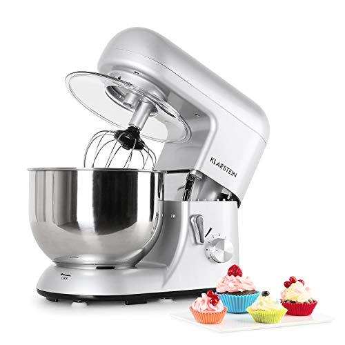 Klarstein Bella Argentea TK2 robot de cuisine multifonction avec bol en inox de 5L (accessoires fouet, pétrin, crochet, 6 vitesses, 1200W) – argent
