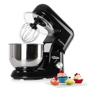 Klarstein Bella Nera – Robot de cuisine multifonction – robot patissier tout-en-un : fouet, pétrin, crochet… (1200W, bol mélangeur en inox de 5L, 6 vitesses) – noir