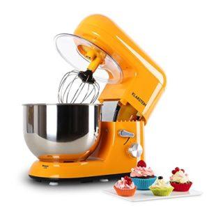 Klarstein Bella Orangina – Robot de cuisine, Mélangeur, Pétrin, max. 1200 W, Vitesse réglable à 6 niveaux, 5,2 L, Système de malaxation d'agitation planétaire, Serrage rapide, Orange