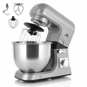 MURENKING MK36C 1000W Robot Pâtissier 5L 6 Vitesses Inclinable Tête Robot Cuisine Avec Accessoires (Gris)