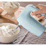 SHUUY Crème Batteur Fouet avec Chrome Batteur, Crochet pétrisseur, 5 Vitesses et Bouton Turbo