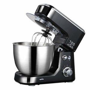 LHJCN Robot pâtissier, 600 W, Mélangeur électrique sur Socle avec, Bol 4L, 6 réglages de Vitesse, Mélangeur de pâte, Crochet à pâte, Fouet, Batteur, Black