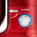 VonShef Robot Pâtissier Multifonctions 800-1260W – Bol de 3,5 L avec dispositif anti-éclaboussures – Livré avec fouet batteur, fouet ballon et crochet de pétrissage