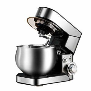 Batteur sur socle pour la cuisson – Machine de cuisine puissante et élégante en argent avec batteur en K, crochet à pâte, fouet et bol de 5,5 litres, 1200 W, argent