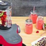 Moulinex QA311510 Robot Pâtissier avec Blender Wizzo Pétrin Fouet Flex Batteur Électrique 7 Vitesses Pulse 1000W Cuisine Rouge