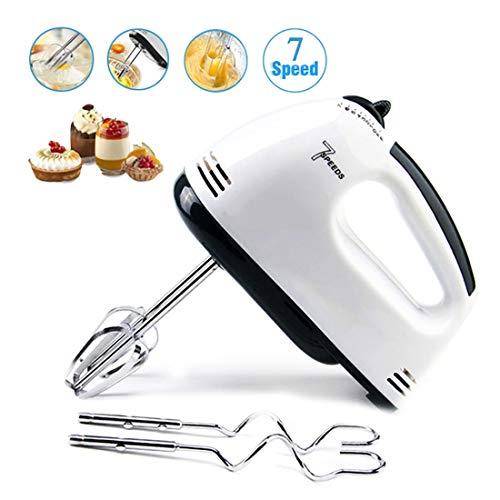 Batteur à Oeufs électrique 7 Vitesse réglable Fouet à main Mini Mixeur for Crème Pâtissière, Robot Multifonctionnel – 2 * Batteurs, 2 * Crochets à pâte