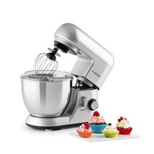 Klarstein Bella Pico Mini – Robot de cuisine, Machine à pétrir, 550-800W, 6 vitesses, 4 L, Bras multifonction, Bol inox, 3 accessoires, Argent