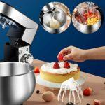 SWQG-Poêle Cuisine Électrique Robot Petrin Mélangeur 6 Vitesses avec des Mélangeurs en Acier Support 5.5L Inoxydable Bowl, Crochet Pétrisseur, Mélange Batteur et Fouet, 1200W