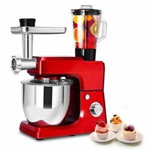 LEILEI Robot culinaire et mélangeur,mélangeur sur Socle pour Aliments,Presse-Agrumes,Hachoir Trois-en-Un,avec Bol en Acier Inoxydable,5 L