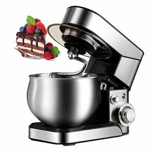 CMAO Robot pâtissier Multifonction,Robot Pâtissier 1200W Robot Pétrin de Cuisine Multifonctionn Pétrisseur Professionnel avec Batteur Électrique Batteur, Fouet, Bol 5L,Silver (Stainless Steel)