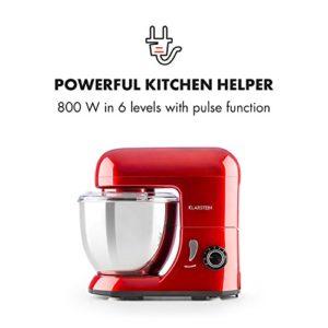 Klarstein Bella Pico Mini – Robot de cuisine, Mélangeur, Machine à pétrir, 550-800W, 6 vitesses, 4 litres, Bras multifonction, Bol inox, 3 accessoires, Compact, Solide, Rouge