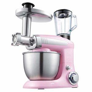 APAN Robot culinaire et mélangeur,Batteur sur Socle,mélangeur de pâte,Hachoir à Viande,Presse-Agrumes,mélangeur à gâteau 4L avec Batteur,Crochet,Fouet,1000W,Rose
