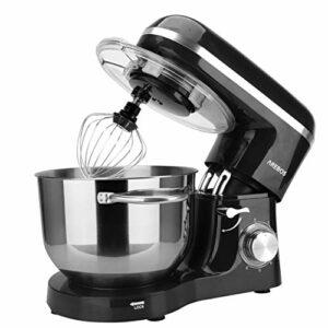Arebos Robot de cuisine 1500 W avec bol de refroidissement en acier inoxydable 6 l, fouet, crochet pétrisseur, fouet et protection anti-éclaboussures, 6 vitesses, machine à pâtes silencieuse, noir