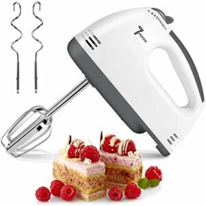 Batteur à main électrique, batteur de nourriture de mélangeur à main à 7 vitesses, fouet à oeufs de mélangeur de cuisine avec bâtonnets d'oeuf et bâtonnets de pâte pour fouetter la pâte