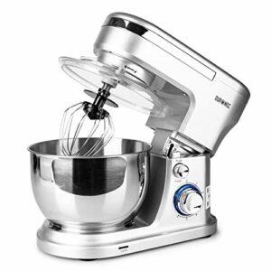 Duronic SM104 Robot pâtissier de cuisine/Batteur sur socle compact avec batteur/mélangeur/pétrisseur – Bol en inox de 4 litres et couvercle idéal pour pains, brioches, pâtisserie, crêpes