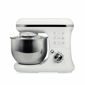 Mélangeur de Stand, mélangeur de Nourriture de 3,5-Bol 600W, mélangeur électrique de Cuisine multifonctionnelle avec Crochet de la pâte, Fouet, Batteur (Color : White, Size : 6.8L)