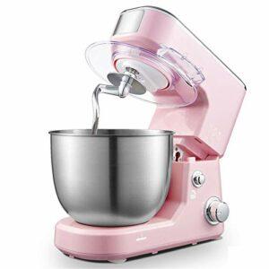 Mélangeur de Stand, mélangeur de têtes d'inclinaison 4L 600W à 6 Vitesses, mélangeur électrique de Cuisine avec Crochet de la pâte, Fouet, Batteur (Color : Pink, Size : 33×21.5x28cm)