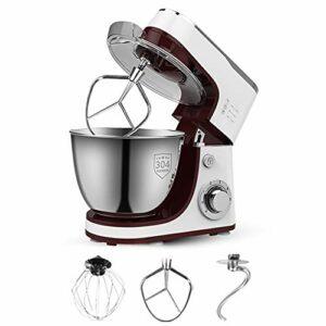 SHBV Électrique Cuisine Robot Pâtissier,6 Vitesse avec 5L Bol De Batteur avec Mouvement Planétaire Fouet Ballon,Beater Plat Et Crochets Pétrisseurs 1300W