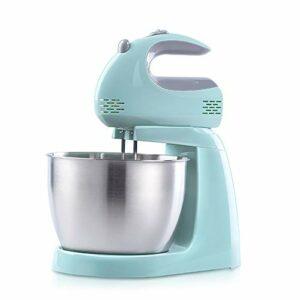 SHBV Électrique Main Mitigeur,Accueil Cuisine 3l Robot Pâtissier avec 2 Crochet De Pâte 2 Batteur Acier Inoxydable Bol De Batteur pour Pâte à Pâtisserie Beater-Bleu. 3l