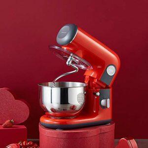 SHBV Électrique Robot Pâtissier,6 Vitesse-1000w Cuisine Aliments Mitigeur 4L Acier Inoxydable Bol De Batteur avec Crochets Pétrisseurs Crochet Batteur-Rouge 4l