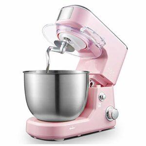 Xu-table MéLangeur sur Socle, MéLangeur Cuisine à TêTe Inclinable 3 Vitesses 600W Bol à MéLanger Amovible en Acier Inoxydable 4L Robot Culinaire Comprend Un Fouet à Crochet PéTrisseur (Color : Pink)