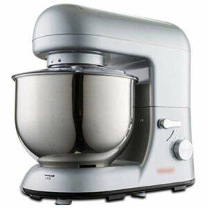 GAOLIGUO Robot Pâtissier 5L, 1000W 6 Vitesses Robot de Cuisine Multifonction Robot Culinaire avec Fouet, Crochet à pâte, Batteur Robot Pétrin,Silver
