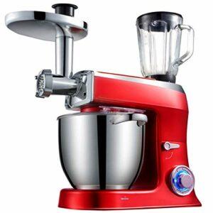 GAOLIGUO Robot Pâtissier 7.5L, 1500W 6 Vitesses Batteur sur Socle avec Fouet, Crochet à pâte, Batteur Bol en Acier Inoxydable et Hachoir à Viande Robot de Cuisine Multifonction,Red