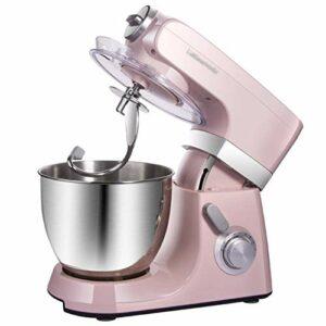 GAOLIGUO Robot Pâtissier 7L, 1500W 8 Vitesses Robot de Cuisine Multifonction Robot Culinaire avec Fouet, Crochet à pâte, Batteur Robot Pétrin,Pink