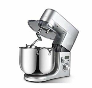 JHNEA Robot Pâtissier, 1500W,Robot Pâtissier Le Luxe Professionnel avec Bol d'acier INOX 10L,à 6 Vitesses Robot Pétrin avec Fouet à Fils,Batteur,Crochet, écran LCD,Sliver