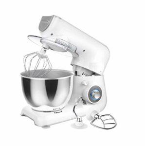 JHNEA Robot Pâtissier Multifonctions, Batteurs sur Socle, Fouet Ballon, Crochet à Petrin, Robot Patissier Puissant, 4L, 5 Vitesses, 1200W,White