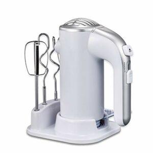XJIANQI Fouet électrique à Main électrique à 5 Vitesses à Main, mélangeur électrique léger mélangeur à Main en Acier Inoxydable Fouet Oeuf avec Base de Stockage