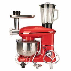 W&HH SHOP 5.5L Robot Pâtissier, 1500W 6 Vitesses Batteur sur Socle Robot de Cuisine avec Fouet, Crochet à pâte, Batteur et Hachoir à Viande, Robot Pétrin