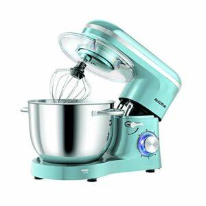 Aucma Robot de cuisine Mixer 6,2 L Mélangeur de cuisine pour usage alimentaire, 6 vitesses Mixeur électrique de cuisine avec crochet pour le pompage, le fouet, le batteur, Tiffany