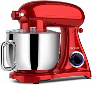 Cooklee Robot de cuisine 3 en 1 électrique en métal Robot pétrisseur Blender 10 vitesses 8 l 800 W Mixeur à pâte avec crochet à pâte, bol, battette, fouet et couvercle