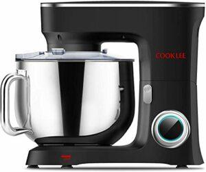 Cooklee Robot de cuisine 3 en 1 Robot pâtissier électrique Blender 10 vitesses 8 l 1500 W Mixeur à pâte avec crochet à pâte, bol, battette, fouet et et couvercle Passe au lave-vaisselle