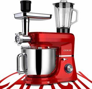 Cooklee Robot de cuisine 6 en 1 Robot pétrisseur électrique Blender 10 vitesses 8 l 1500 W Mixeur à pâte avec crochet à pâte, bol, fouet et couvercle et 9 accessoires