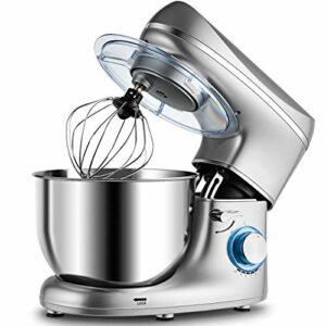 GIANTEX Robot de cuisine 1300 W Robot pâtissier avec bol mélangeur 5,5 l, 6 vitesses avec 3 outils de mélange et protection anti-éclaboussures (argent)