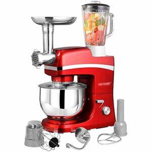 Macro Machine de mélangeur de Support de mélangeur de pâte de Cuisine de 6 Vitesses avec Le Crochet de pâte de Bol de mélange d'acier Inoxydable de 5L Fouet de Batteur de jus de Viande hachée