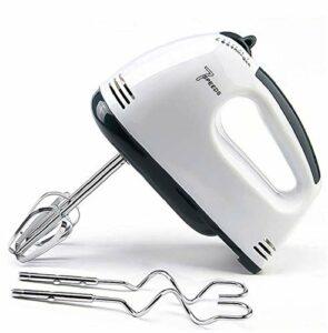 SFXFJ Batteur à Main électrique, 7 vitesses, Fouet à Main Léger Pour la Cuisson des Gâteaux de Cuisine, Mini Batteur à Crème aux œufs, Crochet à Pâte * 2 et Batte * 2, Blanc