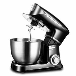 Batteur éLectrique sur Socle, MéLangeur Multifonctionnel Battage Pain Farine D'Oeuf Chef PâTissier Robots Culinaires Domestiques 6 Vitesses Facile à Nettoyer (Color : Black)