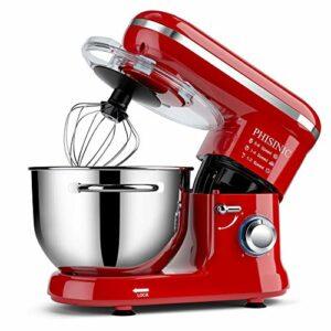 PHISINIC Robot Pâtissier Multifonctions, Pétrin 5,5L 1500W Puissant, Robot de Cuisine avec Crochet Pétrisseur, Batteur, Fouet à Fil, Couvercle, Compatible Lave-vaisselle (Rouge)