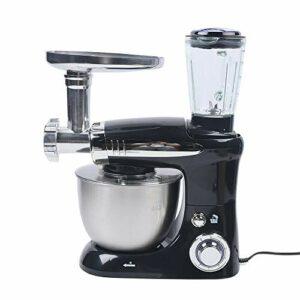 Robot de cuisine 3 en 1 1000 W – Robot pétrisseur électrique avec fouet, fouet, crochet pétrisseur, 6 vitesses réglables – Noir