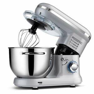 PHISINIC Robot Pâtissier Multifonctions, Pétrin 5,5L 1500W Puissant, Robot de Cuisine avec Crochet Pétrisseur, Batteur, Fouet à Fil, Couvercle, Compatible Lave-vaisselle (Argent)