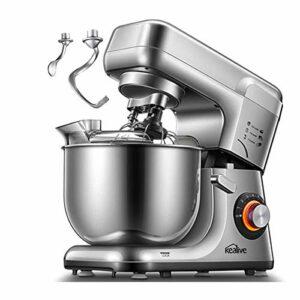 Robot Pâtissier, Kealive 8 Vitesse Batteur sur Socle, Kit Double Pâtisserie, Pétrin avec Crochet, Fouet, Bol en Acier Inoxydable 5,5L, Couvercle Anti-éclaboussure, Protection contre Surchauffe 1200W