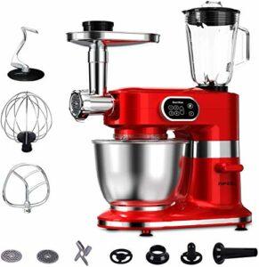 Aifeel 1000W Robot Pâtissier 7L Bol Robot de cuisine 8 en 1 Multifonctions Pétrin avec Crochet Pétrisseur, Batteur, Fouet à Fil, mixeur, Hachoir à viande etc. 5 Vitesses avec Fonction Pulse – Rouge