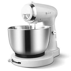 Robot Pâtissier, Bol En Acier Inoxydable 5 Vitesses Mélangeur De Cuisine À La Crème Fouet À Oeufs Pétrin À Gâtea,Blanc