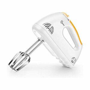 XTZJ Mélangeur de main électrique, mélangeur à main en acier à 5 vitesses mises à jour avec mélangeur de cuisine de poche turbo, fouet à œufs en acier inoxydable avec 2 bâtons de batteur pour la crème